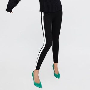 Zara Black Legging Collection with White Stripe
